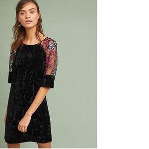 ANTHROPOLOGIE EMBROIDERED VELVET SHIFT DRESS new